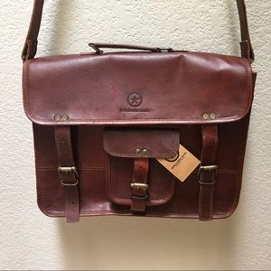 Aaron Leather Goods Satchel Briefcase Bag Laptop